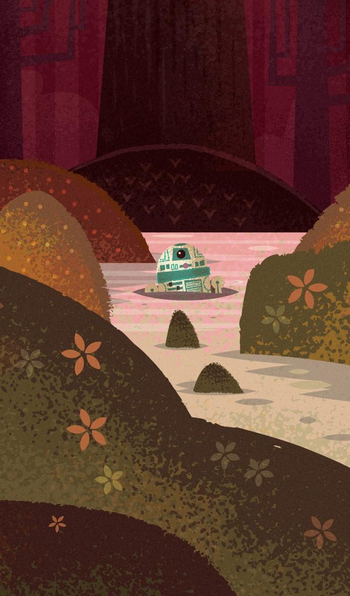 R2-D2 em Dagobah, por Adam Grason